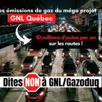 émissions de gaz par le projet GNL Québec