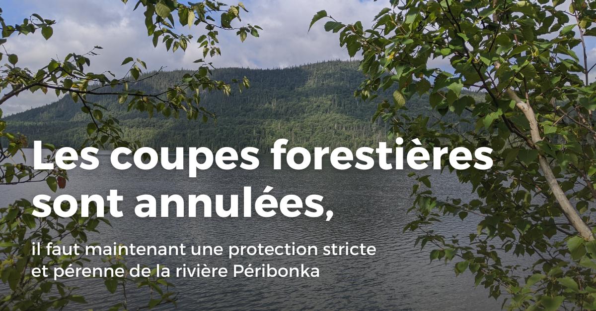 Communiqué - Les coupes forestières sont annulées, il faut maintenant une protection stricte et pérenne de la rivière Péribonka